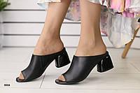 Женские сабо на каблуке, черные кожаные 36