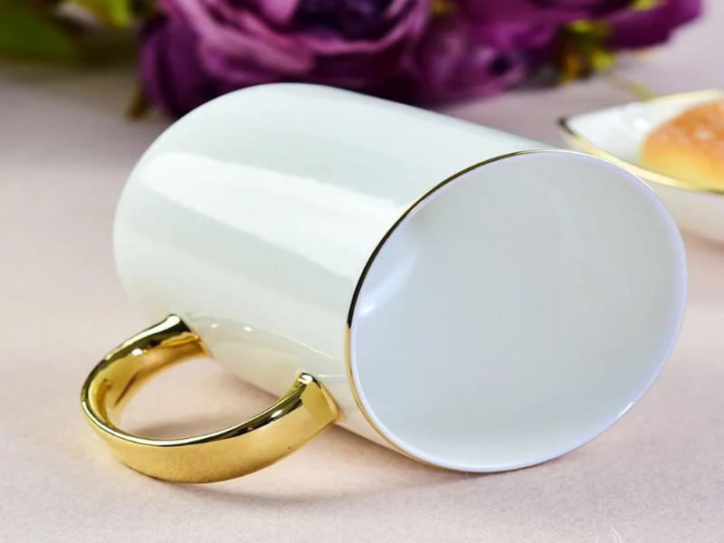 Чашка сублимационная PREMIUM с золотым ободком и ручкой