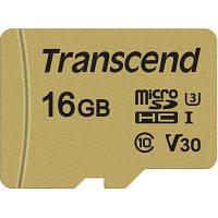 Карта памяти Transcend 16GB microSDHC class 10 UHS-I U3 V30 (TS16GUSD500S)