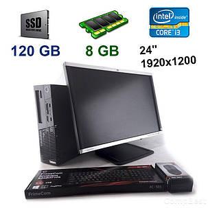 "Lenovo ThinkCentre M83 SFF / Intel Core i3-4130 (2 (4) ядра по 3.4 GHz) / 8 GB DDR3 / 120 GB SSD + HP LA2405wg / 24"" (1920x1200) TN TFT / VGA, DVI,, фото 2"
