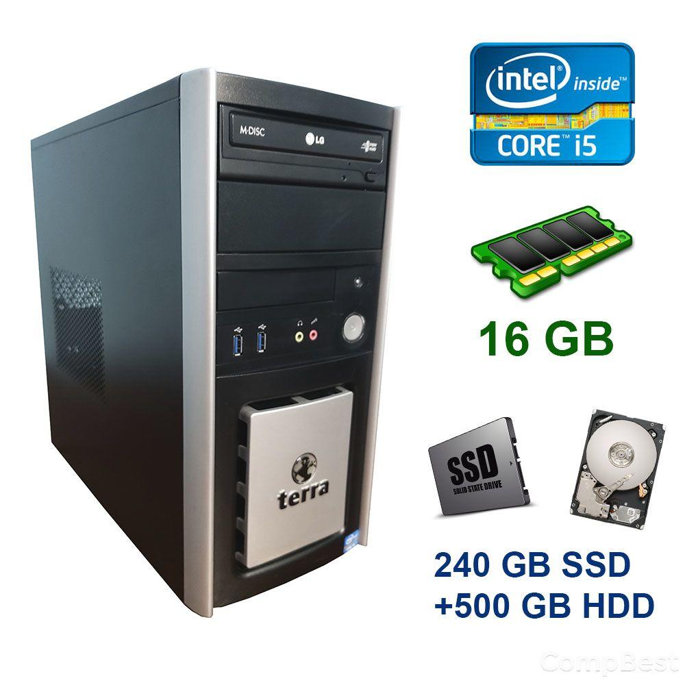 Terra PC Tower / Intel Core i5-3470 (4 ядра 3.2 - 3.6 GHz) / 16 GB DDR3 / 240 GB SSD+500 GB HDD / nVidia GeForce 1060, 3 GB GDDR5, 192-bit / DVD-ROM