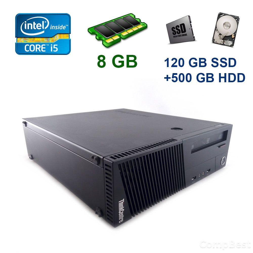 Lenovo ThinkCentre M83 SFF / Intel Core i5-4440 (4 ядра по 3.1 - 3.3 GHz) / 8 GB DDR3 / 120 GB SSD+500 GB HDD / AMD Radeon RX 550, 4 GB GDDR5, 128-bit