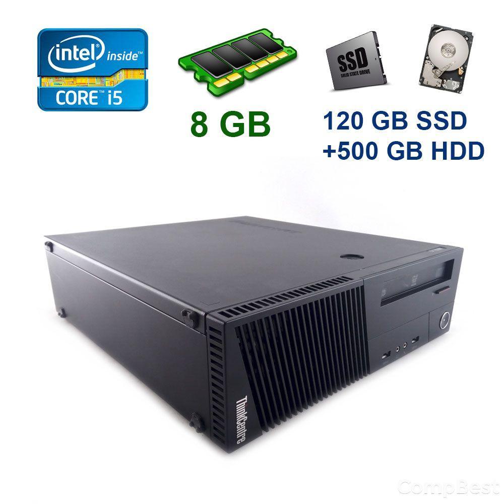 Lenovo ThinkCentre M83 SFF / Intel Core i5-4440 (4 ядра по 3.1 - 3.3 GHz) / 8 GB DDR3 / 120 GB SSD+500 GB HDD / nVidia GeForce GTX 1650, 4 GB GDDR5,