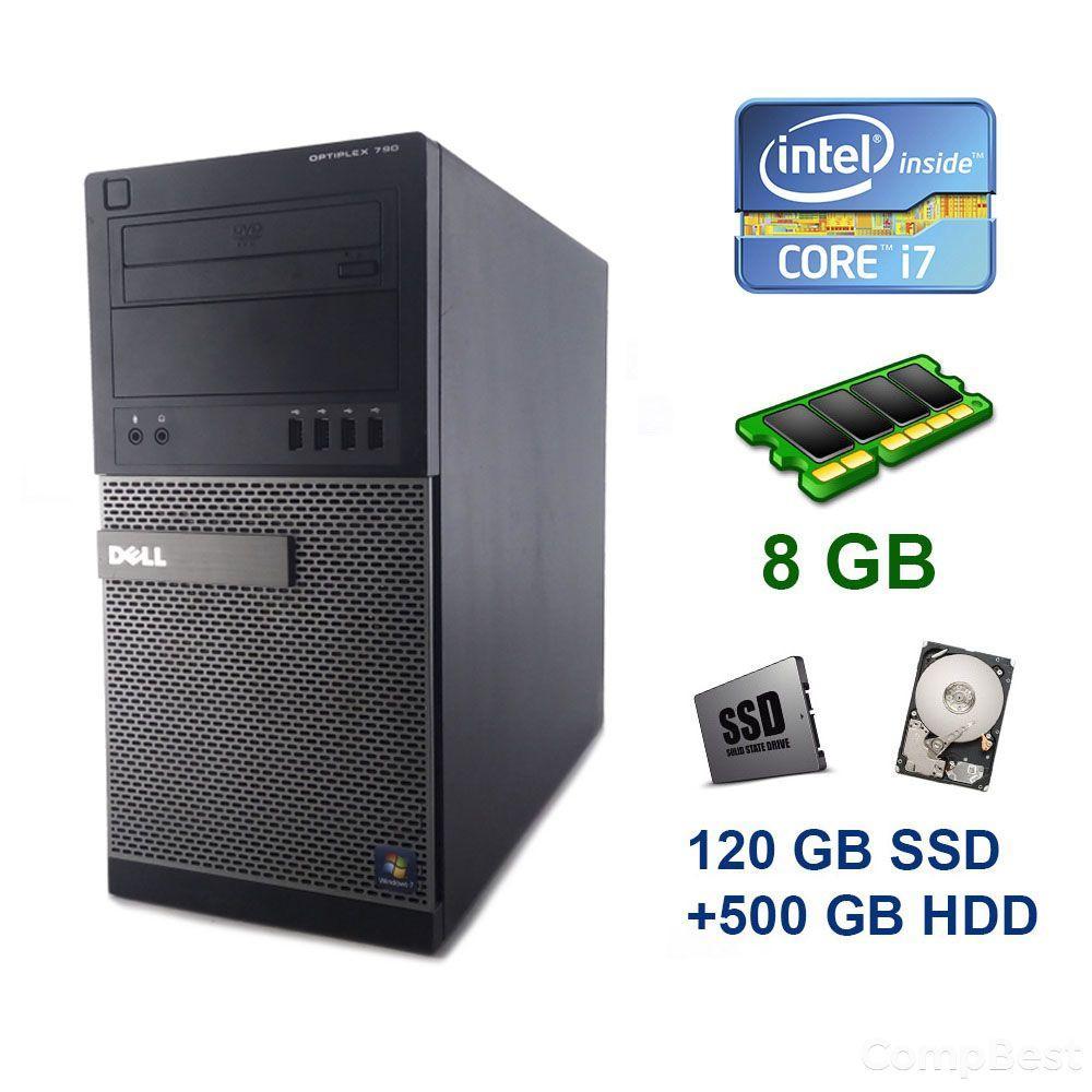 Dell OptiPlex 790 Tower / Intel Core i7-2600 (4 (8) ядра по 3.4 - 3.8 GHz) / 8 GB DDR3 / 120 GB SSD+500 GB HDD / nVidia GeForce GTX 1660, 6 GB GDDR5,