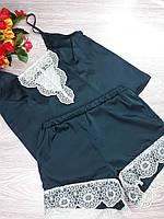 Комплект для дома HandMade шортики+майка шелк 42-44 р темно зеленый (11162)