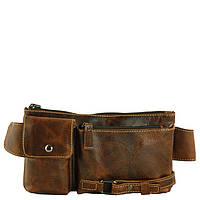 Светло-коричневая кожаная сумка на пояс TRAUM 7173-06