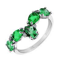 Серебряное кольцо с зеленым кварцем и фианитами 000136561 000136561 17.5 размер