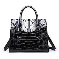 Большая женская сумка Reptile лаковая черная