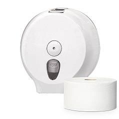 Держатель диспенсер туалетной бумаги Джамбо рулон PRESTIGE из белого или прозрачного пластика с пепельницей