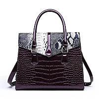 Большая женская сумка Reptile лаковая фиолетовая