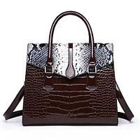 Большая женская сумка Reptile лаковая коричневая