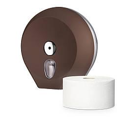 Диспенсер держатель туалетной бумаги Джамбо рулон большой COLORED настенный коричневый ударопрочный пластик