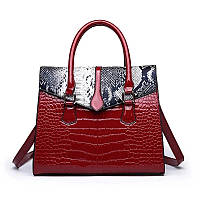 Большая женская сумка Reptile лаковая красная, фото 1