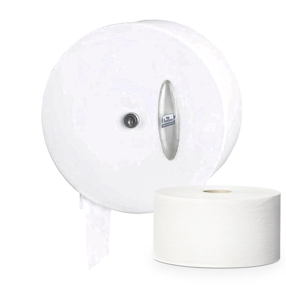 Держатель диспенсер туалетной бумаги Джамбо в больших рулонах Marathon металлический белый противоударный
