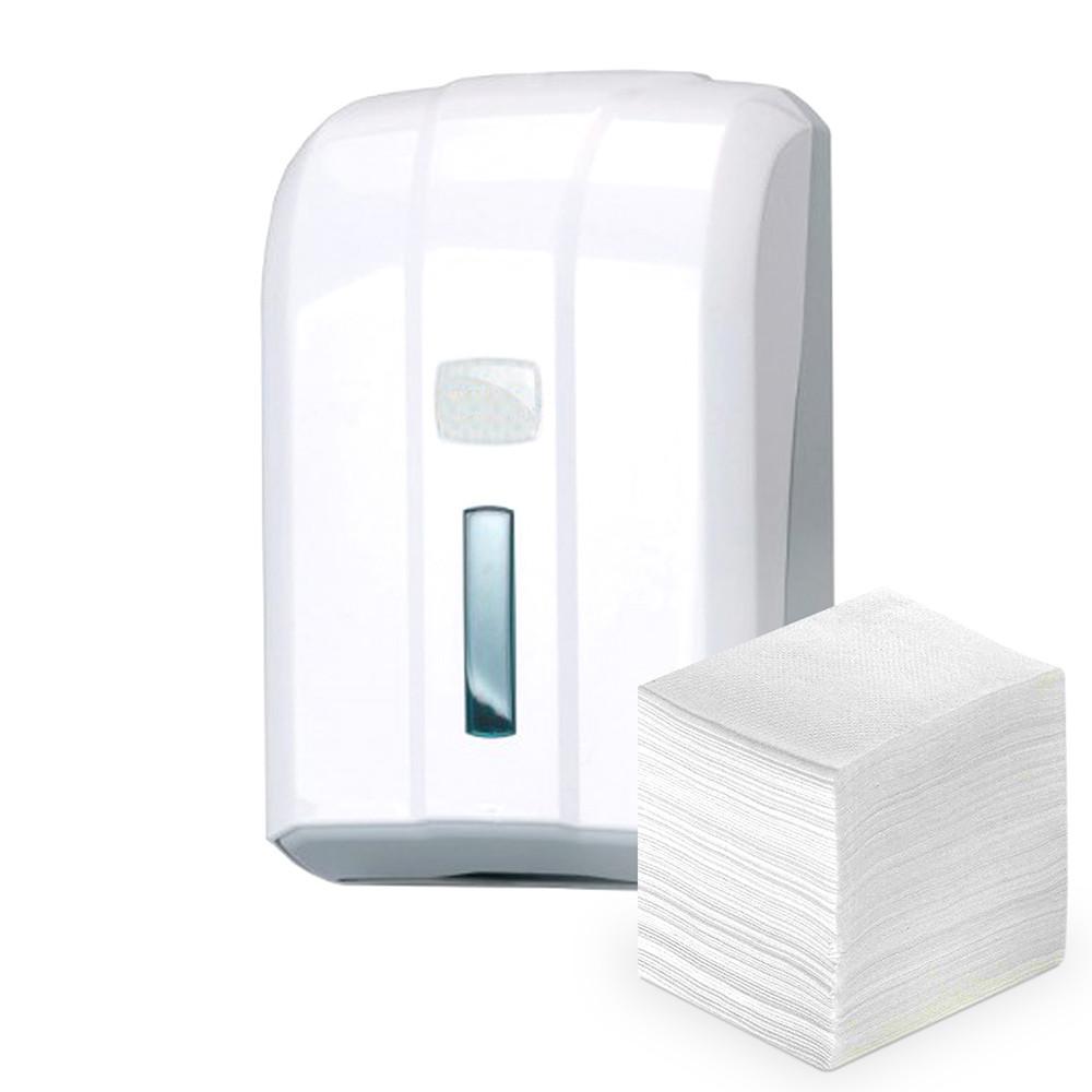 Диспенсер держатель листовой туалетной бумаги в пачках из белого или прозрачного пластика - фото 1