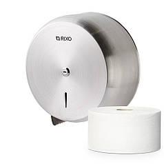 Держатель диспенсер для туалетной бумаги в джамбо рулонах из нержавейки Rixo Solido P006 настенный