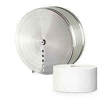 Диспенсер из нержавеющей стали для туалетной бумаги в стандартных и джамбо-рулонах Rixo Solido P007 настенный
