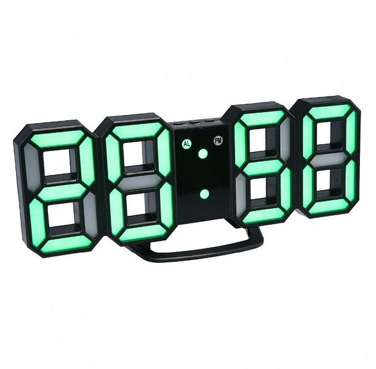 Электронные Led часы с будильником и термометром Caixing Cx-2218, black с зеленой подсветкой
