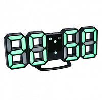 Электронные Led часы с будильником и термометром Caixing Cx-2218, black с зеленой подсветкой, фото 1