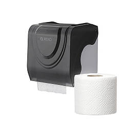 Диспенсер для туалетного паперу в стандартних рулонах Rixo Bello P247TB чорний пластиковий міцний