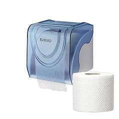 Диспенсер для туалетного паперу в стандартних рулонах Rixo Bello P247TC синій пластиковий настінний