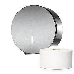 Держатель диспенсер туалетной бумаги Джамбо рулон большой из нержавеющей полированной стали ударопрочный