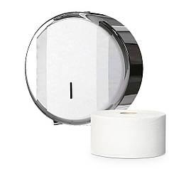 Держатель диспенсер больших рулонов туалетной бумаги Джамбо из нержавеющей полированной стали антивандальный