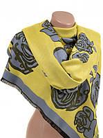 Женский тёплый кашемировый палантин 32061 yellow
