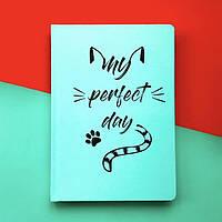 Блокнот с котом Хвост и Усы Diary My perfect day LifeFLUX А5 Мятный Украинский язык