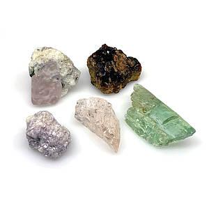Небработанные камни кунцит, кварц морганит
