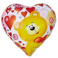 Шар сердце из фольги с мишкой и сердечками 45 см