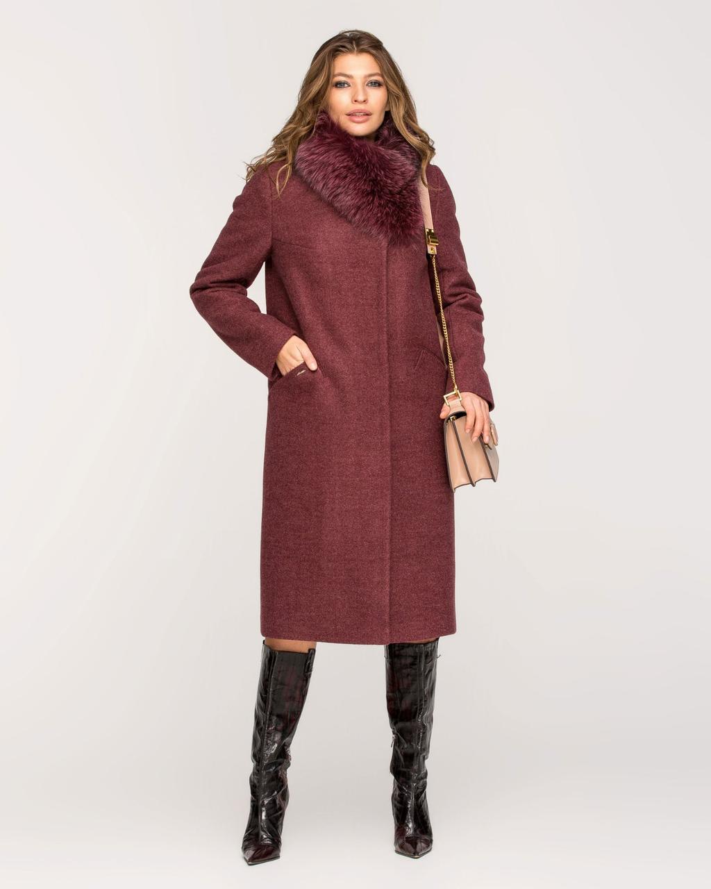 Зимнее женское пальто с натуральным мехом на воротнике
