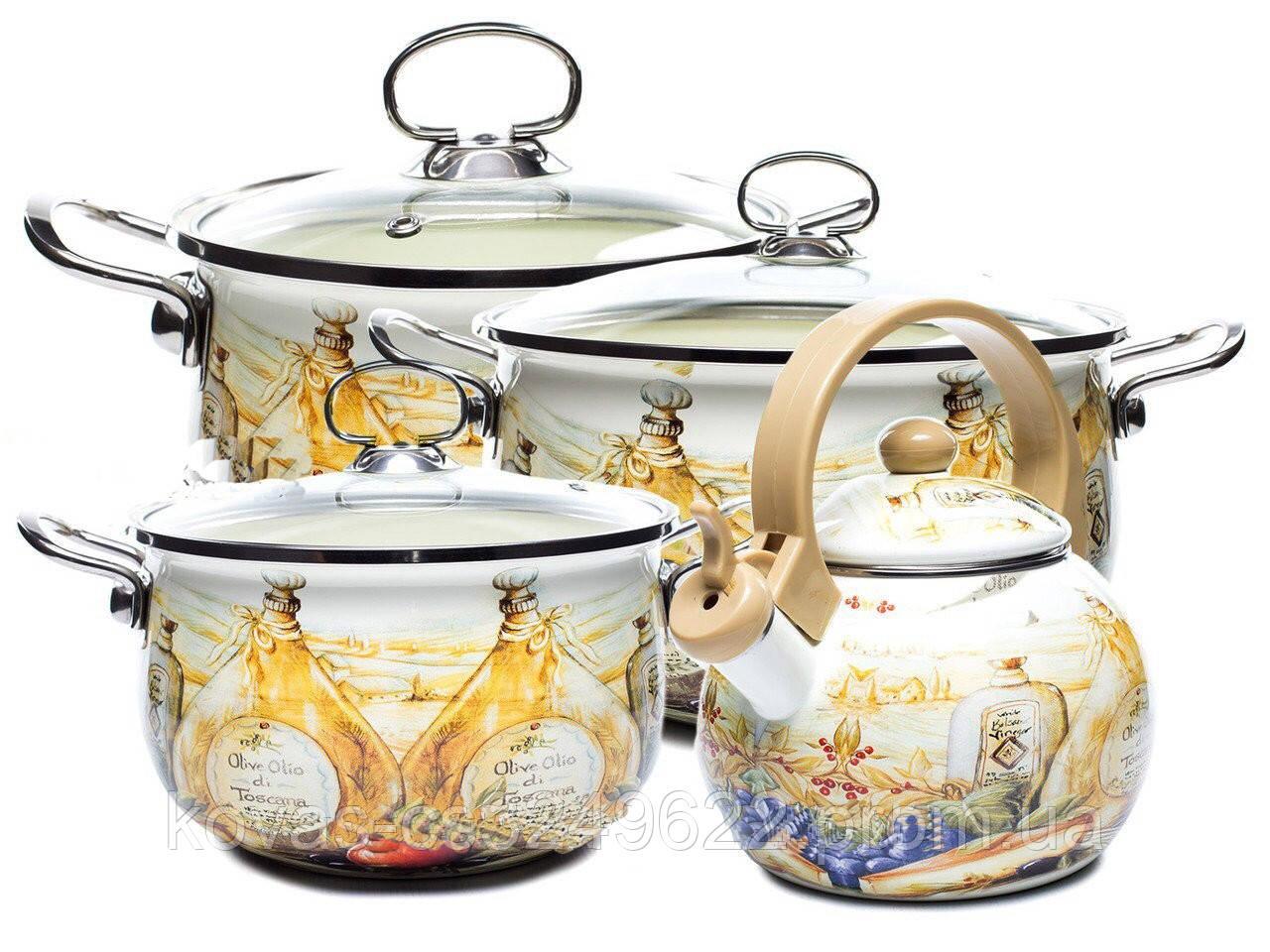 Набор эмалированных кастрюль + чайник Edenberg- 8 предметов