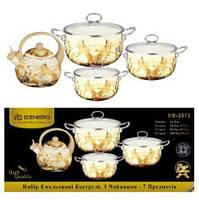 Набор эмалированных кастрюль + чайник Edenberg- 8 предметов, фото 3