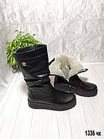 Кожаные сапоги зимние женские, фото 1
