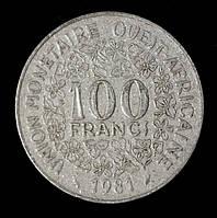 Монета Западной Африки 100 франков 1981 г.