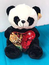 Плюшевый мишка Панда с сердцем в подарочной упаковке р-р M, фото 2