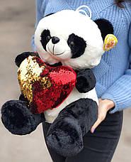 Плюшевый мишка Панда с сердцем в подарочной упаковке р-р M, фото 3