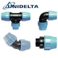 Фитинги Unidelta, d 16-110 мм, зажимные, компрессионные детали для PE и PP труб