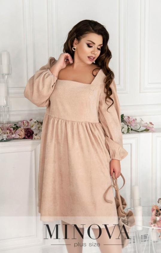 Бежевое вельветовое платье Украина батал Размеры:  52-54