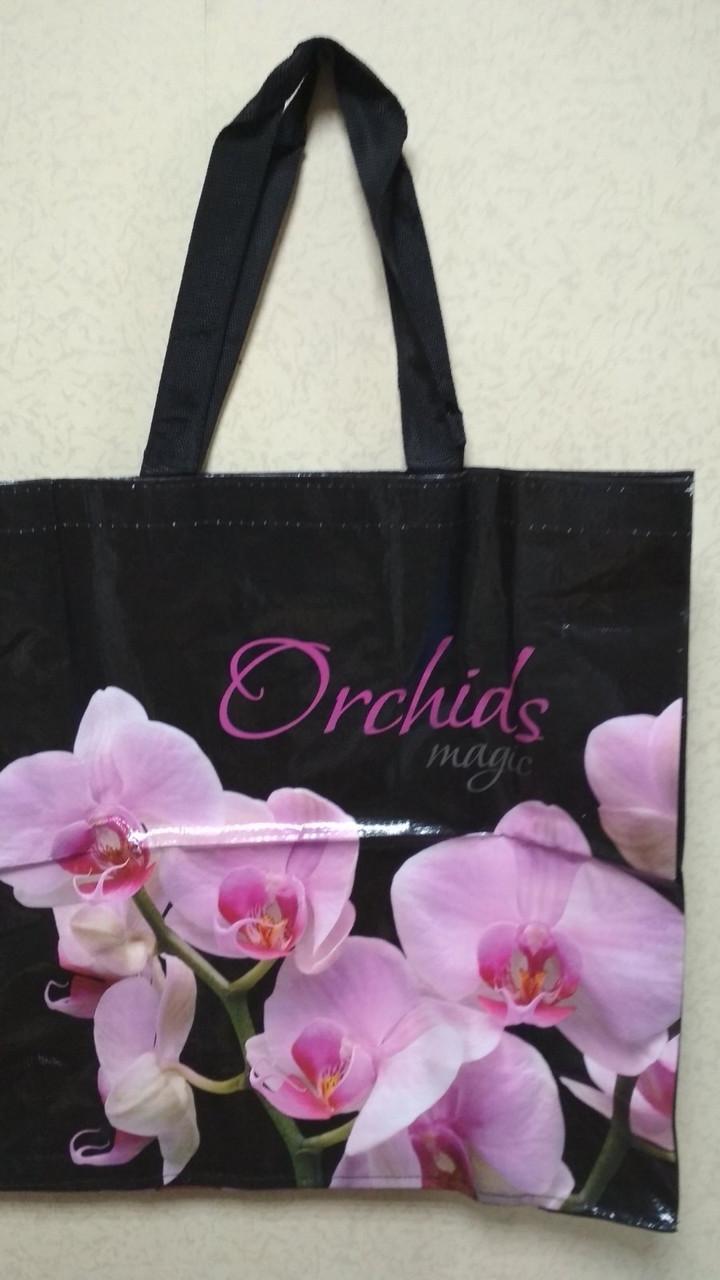 Сумка лаковая полипропиленовая с ручками 39*39*15 см Орхидея