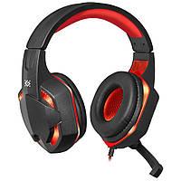 ✰Проводные наушники Defender Warhead G-370 Black + Red гарнитура светодиодная подсветка встроенный микрофон