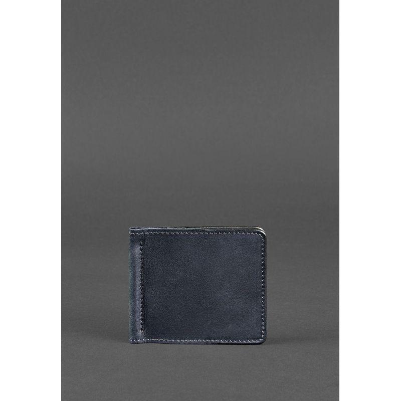 Чоловіче шкіряне портмоне GS синє 1.0 затиск для грошей