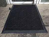 Грязезащитный резиновый грязезащитный ковер Волна 15 мм 90х160 см черный с кантом