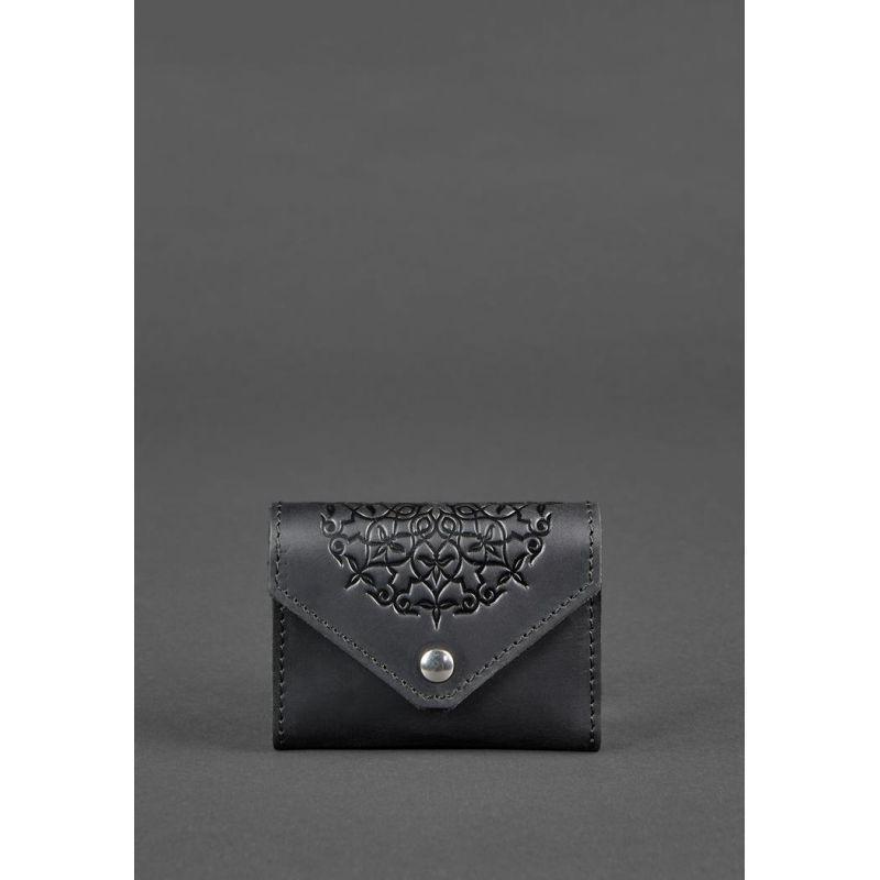 Кожаный женской кард-кейс 3.0 черный с мандалой