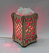 Соляний світильник Дерев'яний камін Метелики