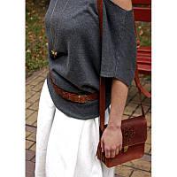 Женский кожаный бохо-ремень GS светло-коричневый