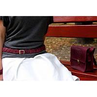 Женский кожаный бохо-ремень GS бордовый