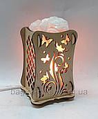 Соляний світильник Дерев'яний камін Квітка+метелик