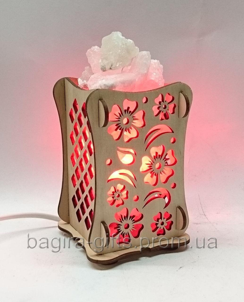 Соляной светильник Деревянный камин Цветы